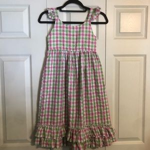 LOLLY WOLLY DOODLE Size 7 Pink Green Sleeveless Dress Ruffle Peplum Lined Tiered